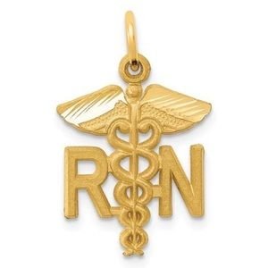 Jewelry - 14K YellowGold Satin Nurse RN Necklace Charm